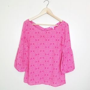 Lilly Pulitzer Silk Puff Sleeve Button Back Blouse